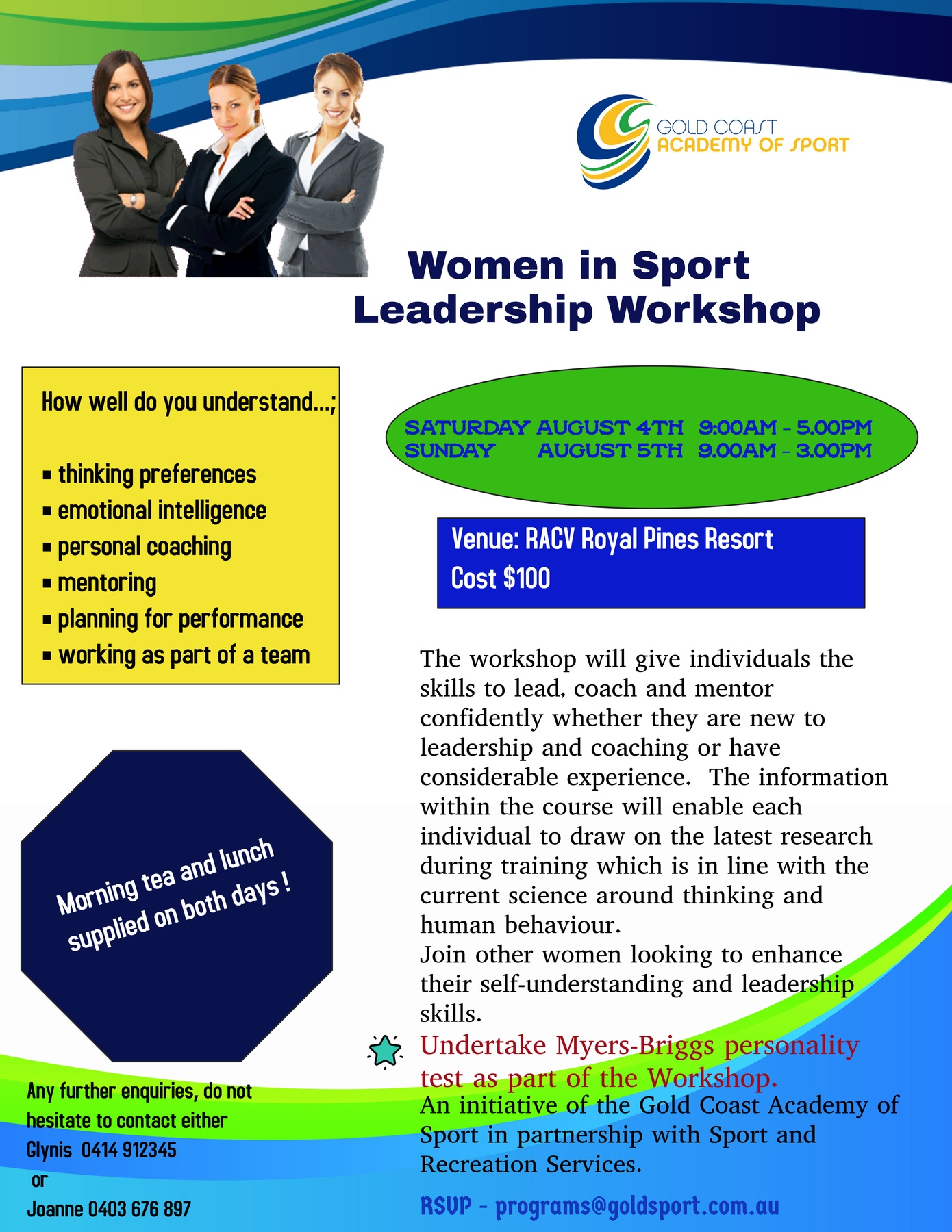 Women in Sport Weekend Workshop - Gold Coast Academy of Sport